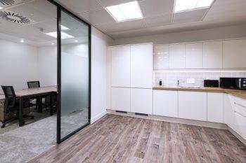 Vinyl flooring in breakout area