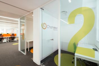 office using flooring to match brand identity