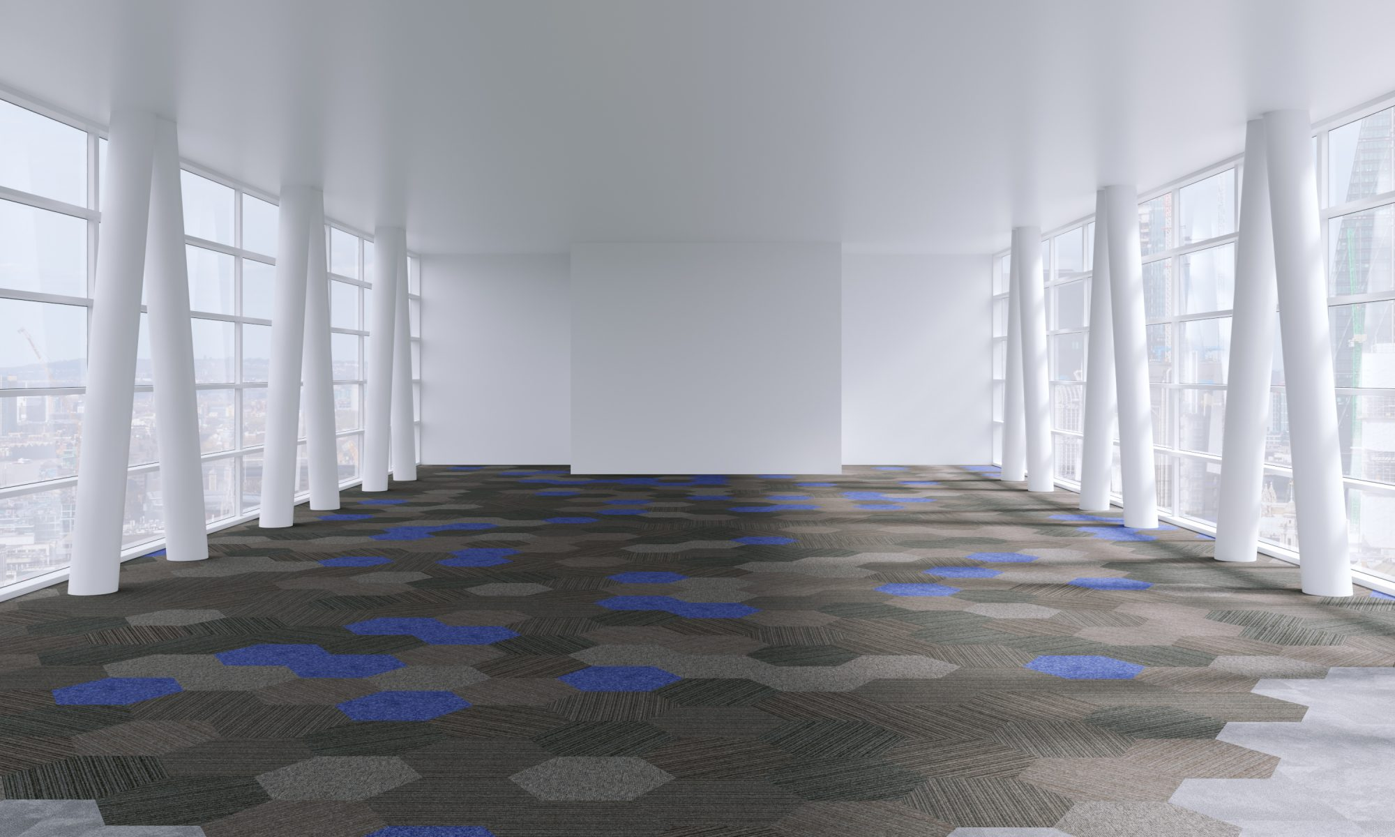 Freedom and Hexxtile carpet tiles in office