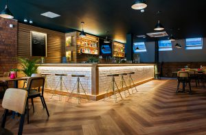Natural looking wood floor in restaurant setting