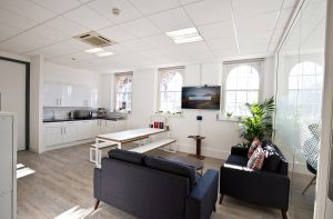 Office redesign - soft furnishings, breakout area and Momenta flooring
