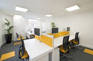 Using colour in the office, Progression Range grey carpet tiles with a yellow Bright Ideas