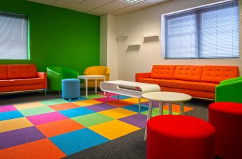 Bright flooring for a creative space