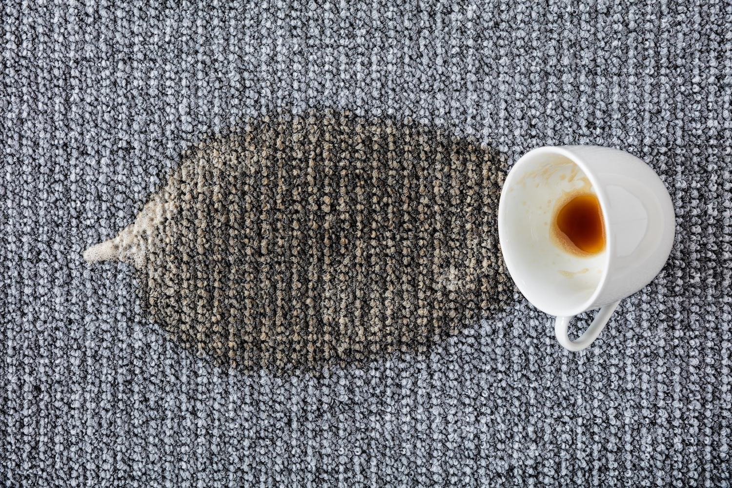 Carpet tile with coffee spill - cleaning carpet tiles top tips