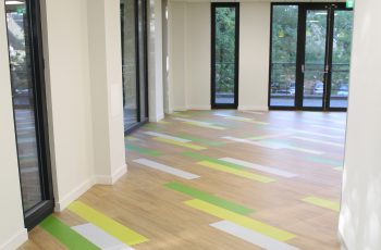 Momenta vinyl tiles with added colour - ideal commercial flooring choices