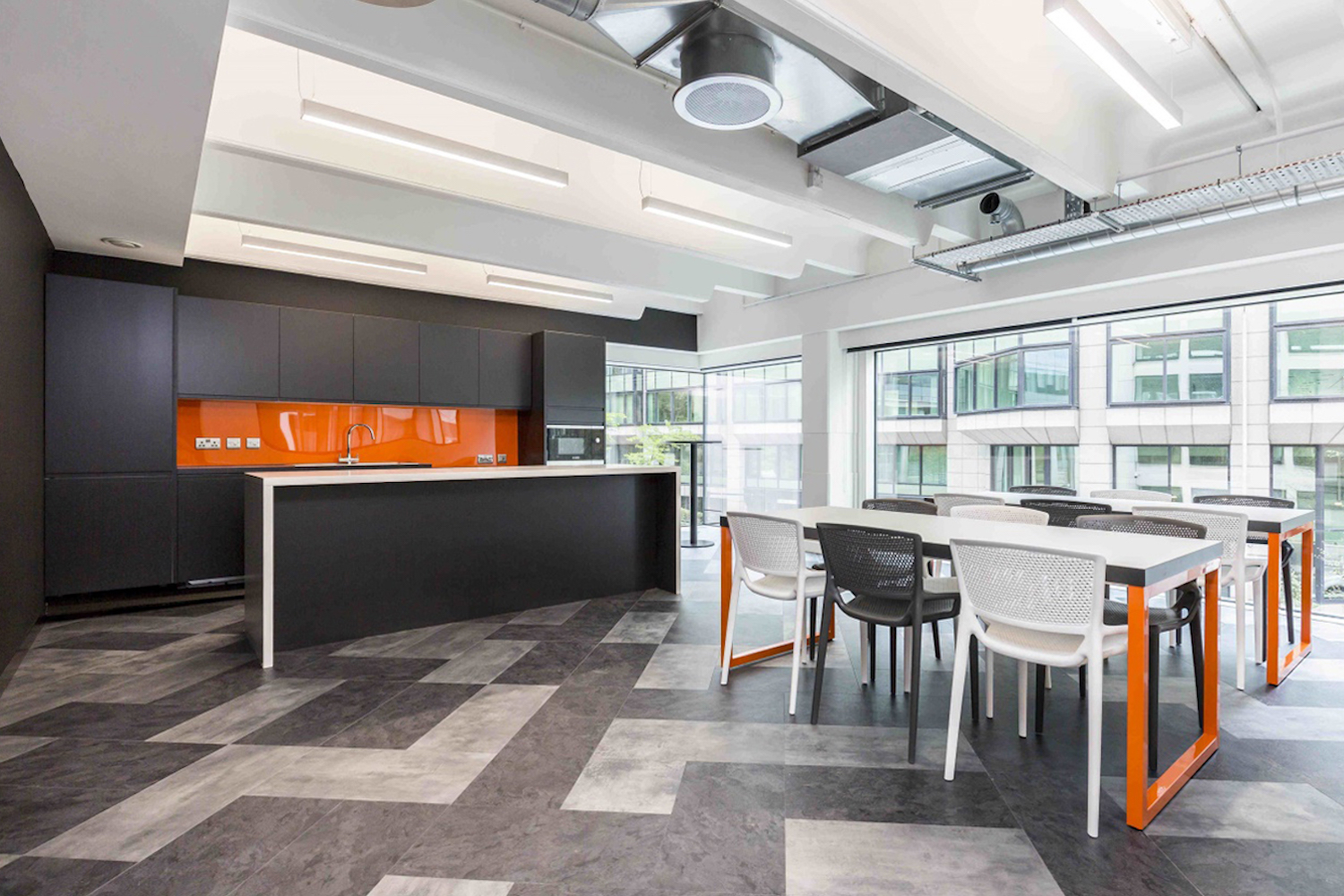 Different pattern of vinyl tiles on floor advantages of vinyl for commercial spaces