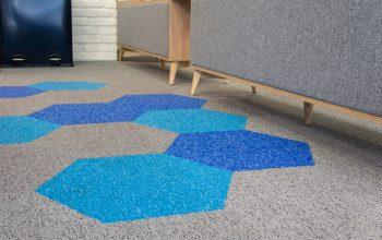 Hexagonal carpet tiles on showroom floor