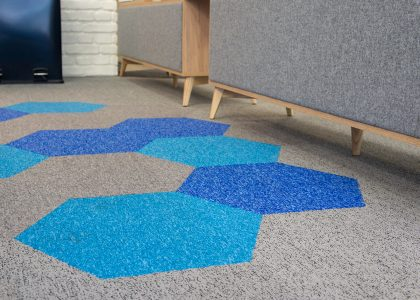 Hexagonal carpet tiles on showroom floor