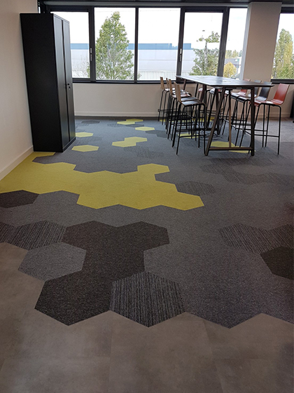 Hexagon carpet tiles in office space
