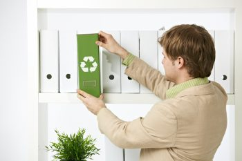 Man out file on sustainable office policy
