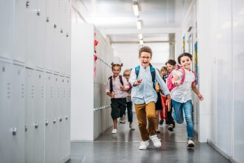 Duraclad being used in a busy school corridor