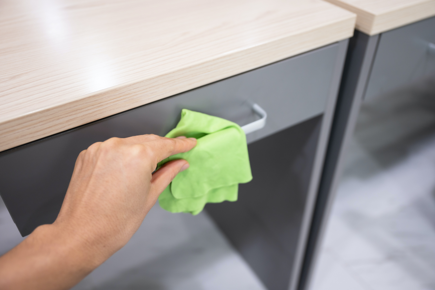 Hand and wipe - cleaning desk