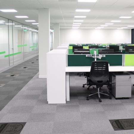 Social distancing tiles being used in an office