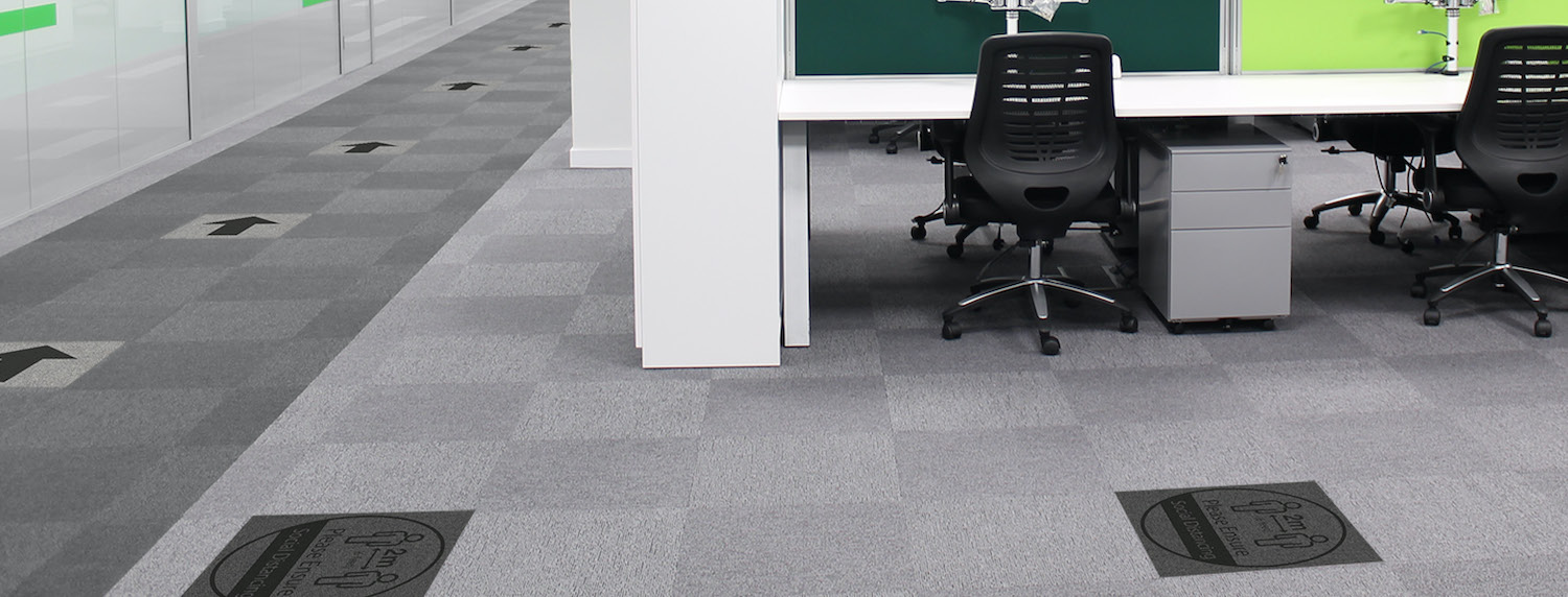 Social Distancing Tiles in an office environment