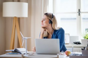 remote office, home office - woman in her home office environment