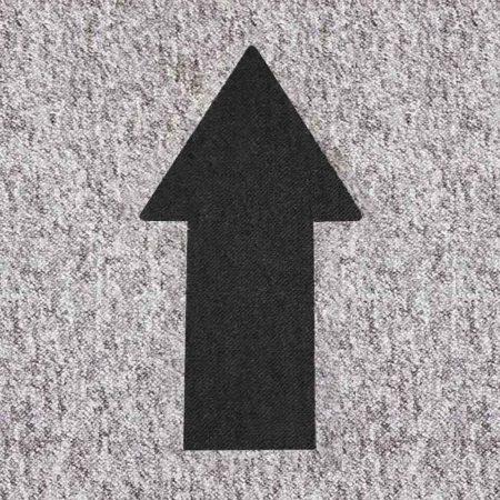 Social distancing marker black arrow on grey tile
