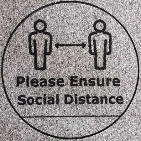 Social distancing tile 2 people graphic and message