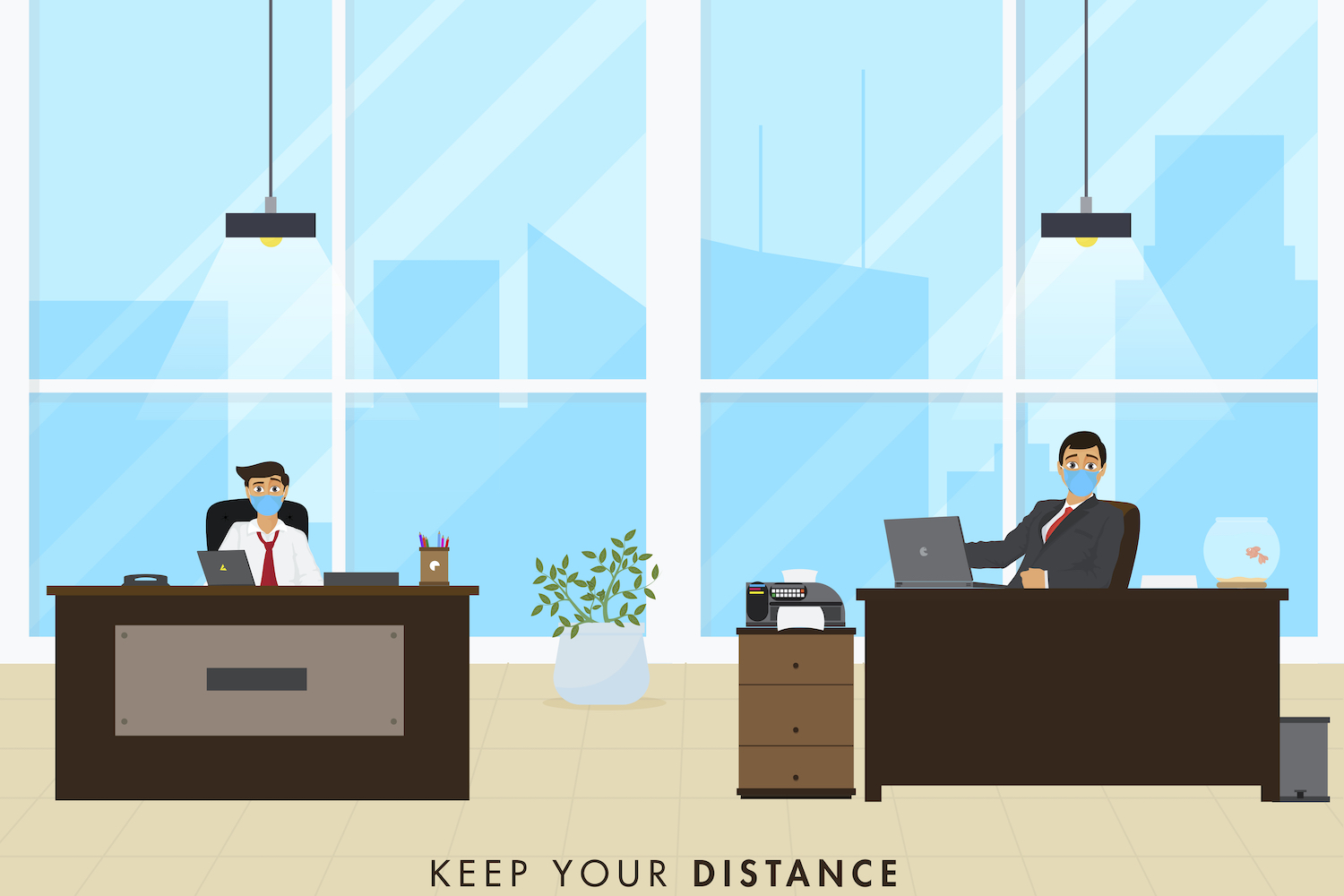 Showing how office design helps safer working - office design for social distancing