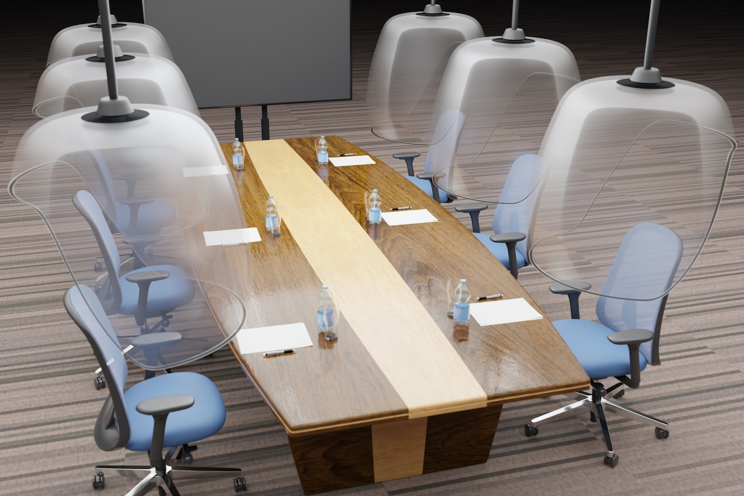 Design Ideas for the 2020 office - board table with protection pods