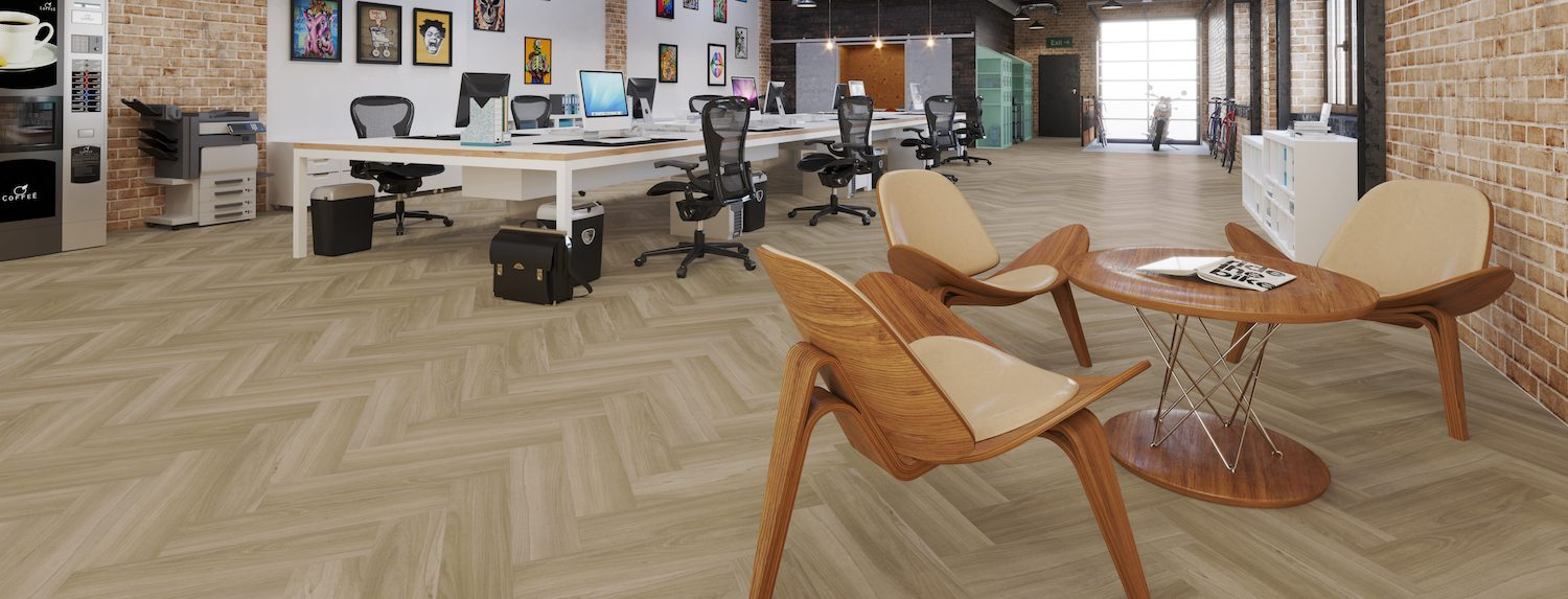 Eleganza Bronzed Alder Short Plank in a modern office