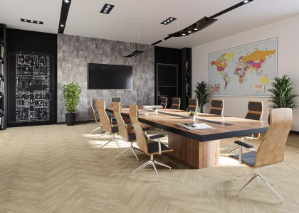 Eleganza LVT Short Plank - Vanilla Oak in a boardroom, wood matching table and chairs