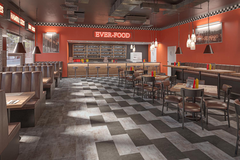 Restaurant Flooring Momenta LVT in an American Dinner Styled Restaurant