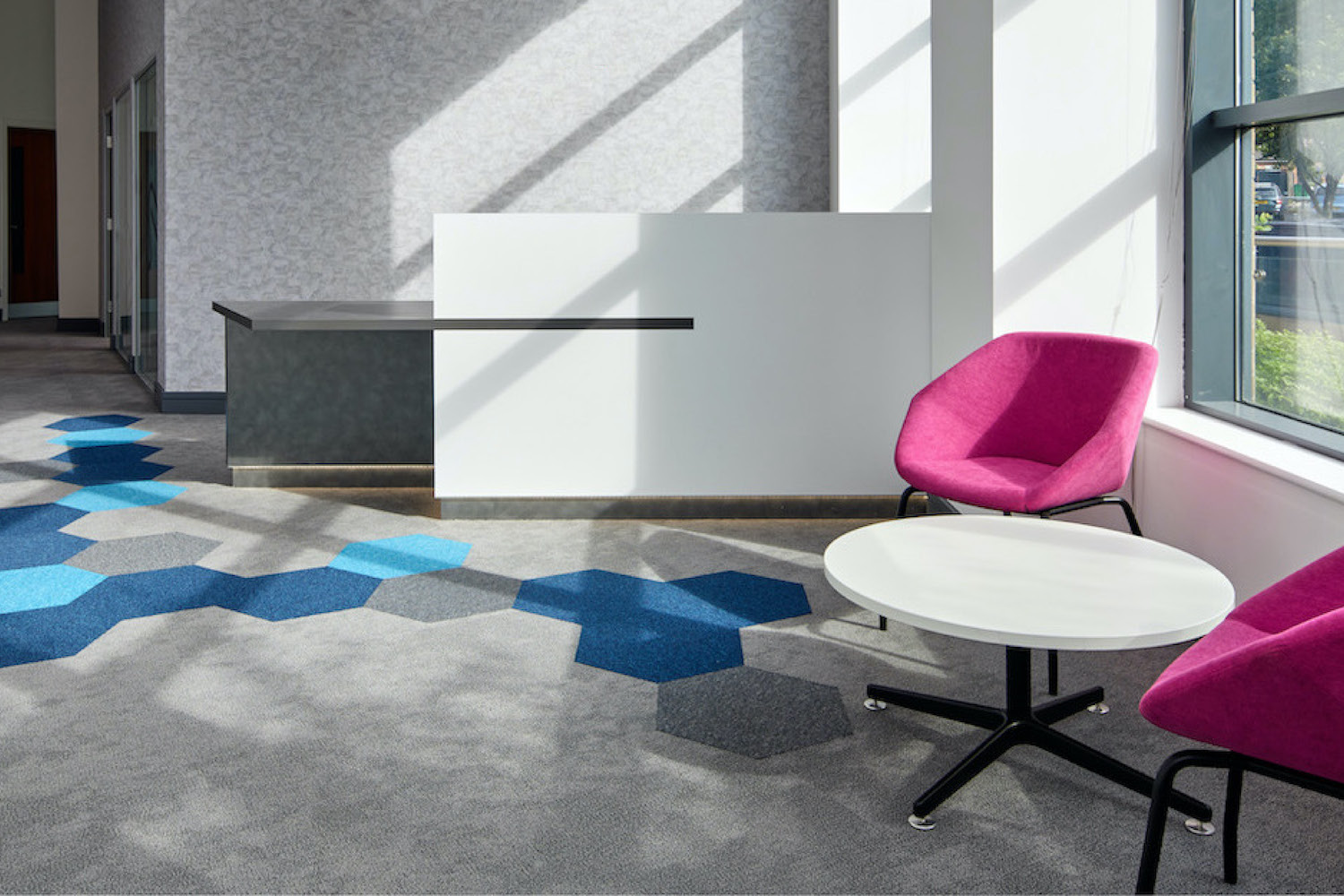 Attractive reception are using Hexxtiles as a feature