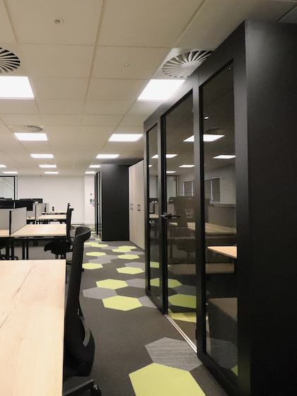 Office with Hexxtile providing a bright and stylish walkway