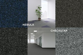 Collage with 4 new colours and room scene Checkstar and Nebula